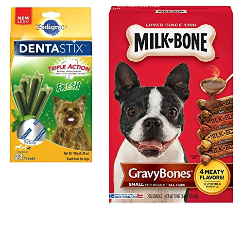 Pedigree Dental Sticks and Milk Bone Dog Treats Variety Pack. Easy and Convenient Shopping For 2 Popular Small Dog Treats. Wholesome, Delicious, and Healthy. Your Dog Will Love Em!