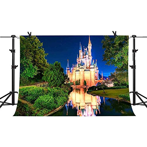 7x5ft Fairy Tale Backdrop Cartoon Castle Night Photography Background Baby Children Birthday Party Photography Studio YouTube Twitter Backdrop Props PHMOJEN LXPH003 ()