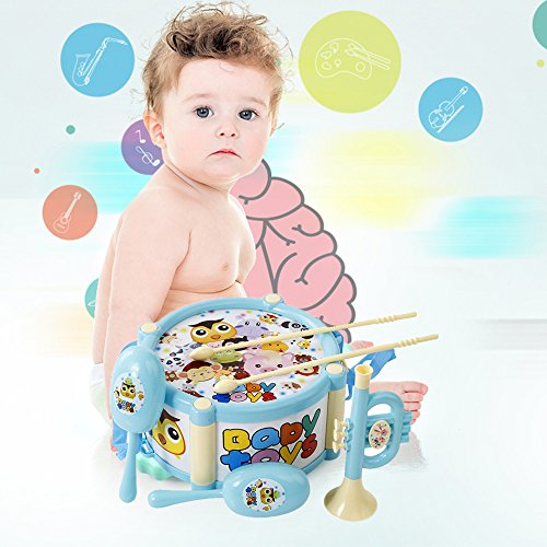 5 Pcs Baby Roll Drum Musical Instruments Kids Band Kit Toy Set for Kids Xmas Gift by COFFLED