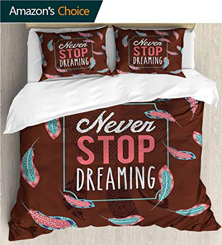(Home 3 Piece Print Quilt Set,Box Stitched,Soft,Breathable,Hypoallergenic,Fade Resistant Patterned Technique King Quilt Set-Quote Modern Never Stop Dreaming (79