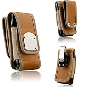 Gladiator Nubuck Brown Leather Super Strong Rugged Duty Belt Case with Metal Clips for Kyocera Hydro Vibe