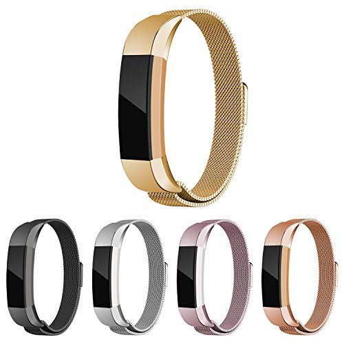 Fitbit Alta Bands, EHHE ZPF Milanese Loop Stainless Steel Metal Bracelet Smart Watch Strap with Unique Magnet Lock Replacement Wristbands For Fitbit Alta HR and Alta (Gold)