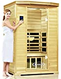 ClearLight Jacuzzi IS-2-GS Glass Premier Two Person Sauna Basewood - Infrared Fusion Power Carbon-Ceramic Heaters, Near Zero EMF - Chromotherapy Lights, Bluetooth AUX MP3 Audio Inputs