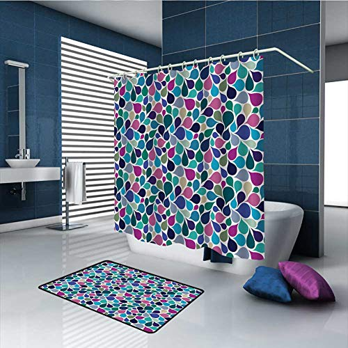 PINGYEHOME 2 Piece Colorful Raindrops Shower Curtain Sets with Non-Slip Rugs, Give 12 Hooks, Durable Waterproof Shower Curtain -Shower Curtain/70 x L70 & Rug/31.5