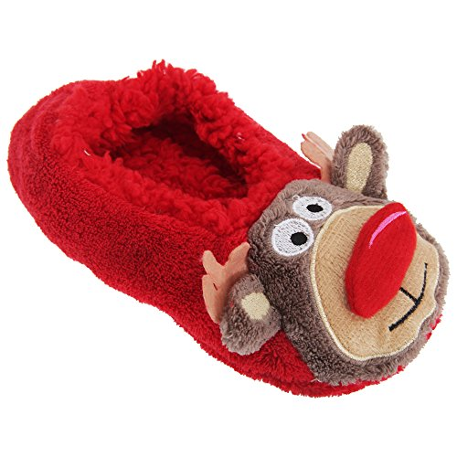 Co-zees Womens/Ladies 3D Christmas Novelty Slippers With Grips (US 6.5-8.5) (Rudolph/ Red)