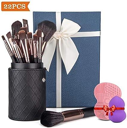 Donix Set de Brochas Maquillaje Profesional Ojos 22 Piezas,Cepillo de Maquillaje de con Esponja y Limpiador,Caja Estuche PU,Azul Caja de Regalo: Amazon.es: Belleza
