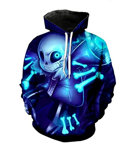(MaeFte Undertale Sweater Blue Cosplay Costumes sans Skull Hoodie (L, Blue))