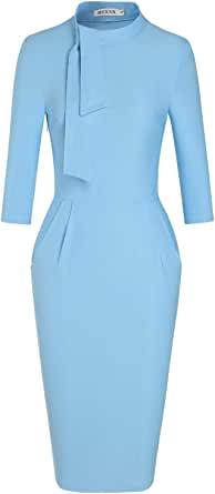 MUXXN Women's Classic Vintage Tie Neck Formal Cocktail Dress with Pocket Blue