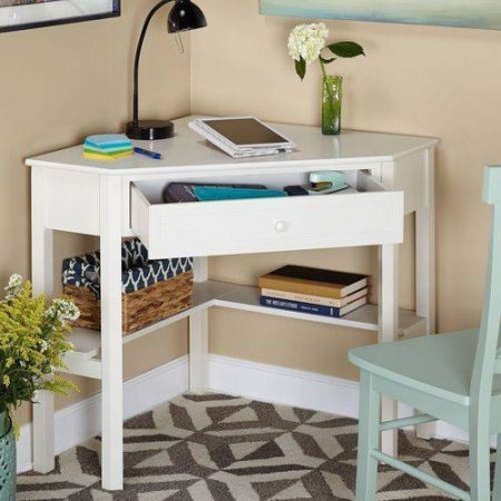 Corner Writing Desk,Wooden corner desk constructed of wood and MDF (Antiqued White) by Generic