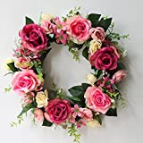 Festar Spring Wild Red Pink Rose Door Wreath for Front Door Wedding Wall Home Decorations