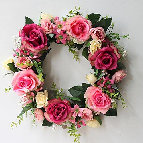 Festar Spring Wild Red Pink Rose Door Wreath for Front Door Wedding Wall Home Decorations ()