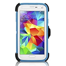 OtterBox 'Defender Series' Rugged and Protective Case for Samsung Galaxy S5 w/ Belt-Clip - Deep Water Blue/White (Retail Packaging)