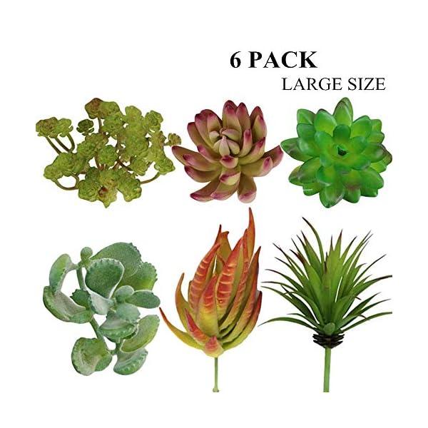6 Pack Artificial Succulent Plants Decorations, Unpotted Fake Succulent Flower Assorted Bulk, Large Faux Succulent Greenery for Summer Home Office Garden Floral Arrangement Decors