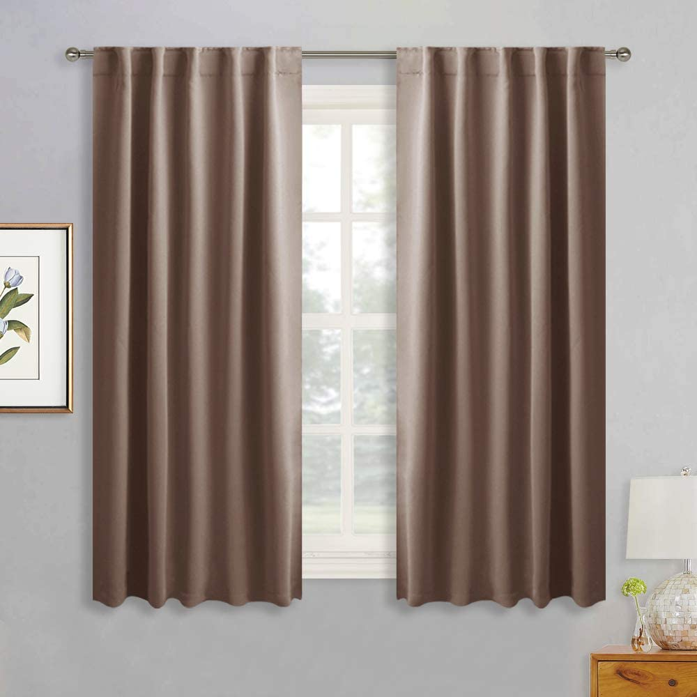 RYB HOME Blackout Curtain Shades - Thick Window Drapes for Cafe Bar, Sunlight Block Shades Absorb Heat for Bedroom Living Room Backdrop, 42 inch Width x 54 inch Length, Mocha, 1 Pair