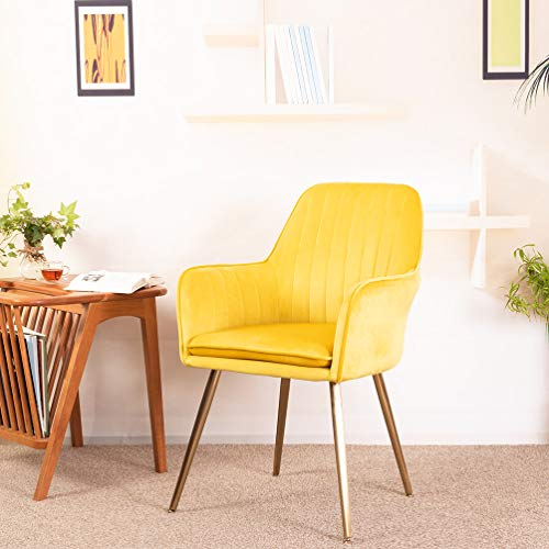 GOLDEN BEACH Elegant Velvet Dinning Chair Mid-Back Support Accent Arm Chair Modern Leisure Upholstered Chair with Gold Plating Legs (Yellow)