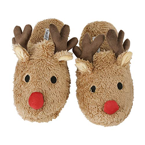 Womens Warm Fleece Indoor Cartoon Slippers Winter Soft Cozy Home Booties Non-Slip Plush Slip-on Shoes Ankle Boots (L: US 8.5-9 B(M), Brown Elk Antler) for $<!--$11.45-->