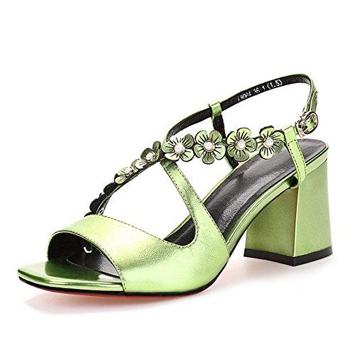 Verano de tacón alto salvaje zapatos resistentes/Una palabra hebilla sandalias de cuero sexy B