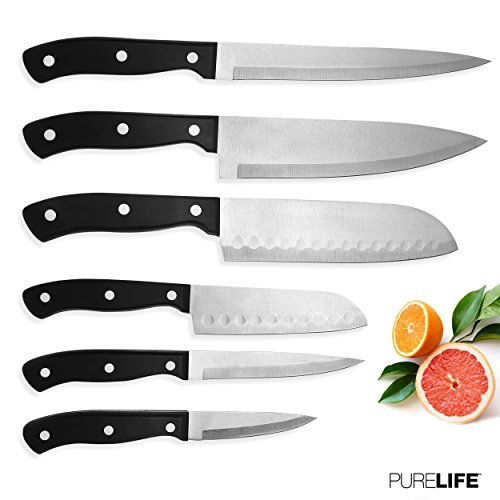 Kitchen Knife Set 6pcs by PureLife - High Carbon Stainless Steel Knives W/Triple Riveted Ergonomic Handles - Kitchen Cutlery 6 pc Set Includes Chef, Santoku, Paring, Slicer & Utility Knife