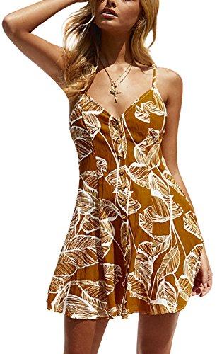 Rangeyes Verano Mujer Vestido de Deslizamiento Casual Impresión Playa Mini Vestido con Botón Sexy Cuello V Backless Corto Vestidos de Cóctel Partido Amarillo