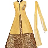 Zaffron Girls' Designer Brocade Lehenga Sets 3 Pieces Indian Part Dress Set 4 To 14 Years Sizes (Gold and Blue, 28 (7-8 Years))