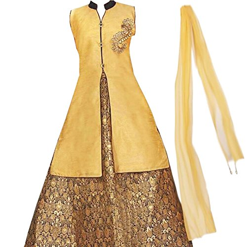 Zaffron Girls' Designer Brocade Lehenga Sets 3 Pieces Indian Part Dress Set 4 To 14 Years Sizes (Gold and Blue, 28 (7-8 Years)) by Zaffron Shop