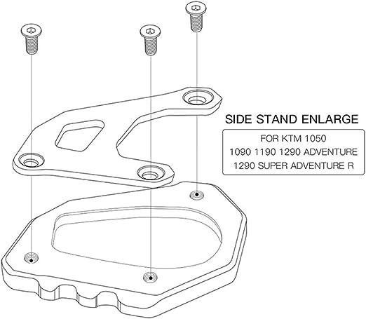 Kickstand Pad-Motor Kickstand Side Stand agrandisseur plaque pour 1050//1090//1190//1290 Adventure Super