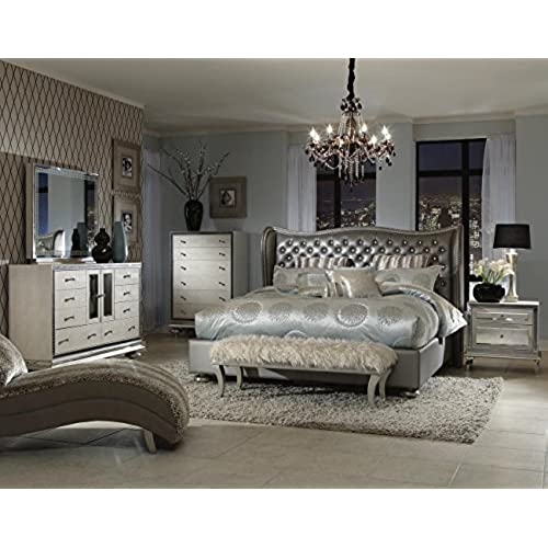 Exceptional Hollywood Swank Queen Graphite Bedroom Set By Aico Amini