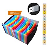 Expanding File Folder 24 Pockets, KOBWA Portable Accordion A4 File Organizer Multicolor Expanding Wallets, Large Capacity Multicolour Stand Plastic Business Filing Box