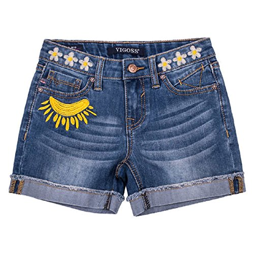 Embroidered Stretch Shorts (Vigoss Big Girls' Stretch Denim Embroidered Shorts (10, medium wash))