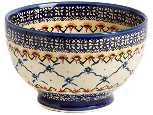 Polish Pottery Orange and Blue Linked Florals Footed Serving Bowl, 7