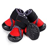 Hdwk&Hped Breathable Dog Hiking Shoes, Small Dog Outdoor Boots with Waterproof Vamp Adjustable Strap Anti-Slip Sole, Red, 55