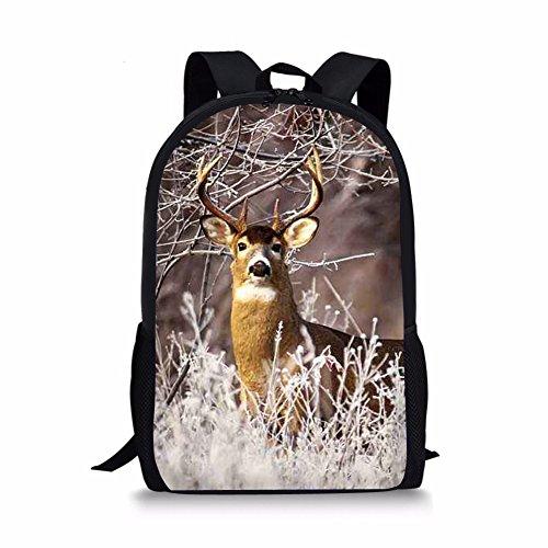 Allcute Kids School Backpack Large Durable Elementary Preschool Book Bags for Boys Girls Elk Print