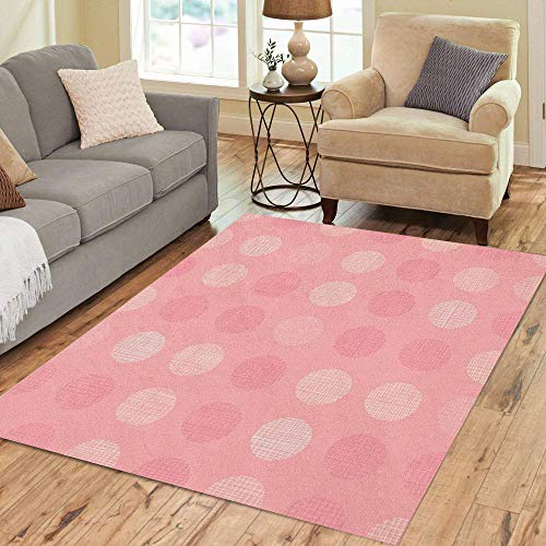 Pinbeam Area Rug Vintage Pastel Salmon Pink Baby Girl Dots Circles Home Decor Floor Rug 5' x 7' Carpet