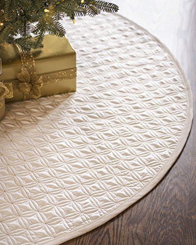 Balsam Hill Lancaster Wedding Ring Quilted Tree Skirt, 36 inches, Ivory White