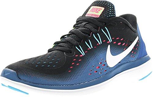NIKE Women's Flex 2017 RN Running Shoe Black/White/Industrial Blue/Racer Pink 6 B(M) US