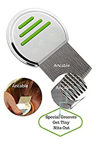 Lice Comb, Ancable Professional Stainless Steel Comb for Head Lice Treatment Removes Nits Louse - Green