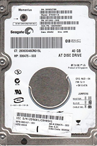 Seagate Momentus 40 Gb - Seagate Momentus ST94011a - 40GB PATA Notebook Hard Drive