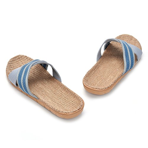 Linen Blue Unisex Skidproof MK Slippers KEELY House Summer Sandals Indoor MATT Striped qtPFf