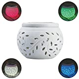 Solar Colorful Lighting,Outdoor Garden/Yard/Path/Patio White Ceramics Lighting Decoration Lamp - Large
