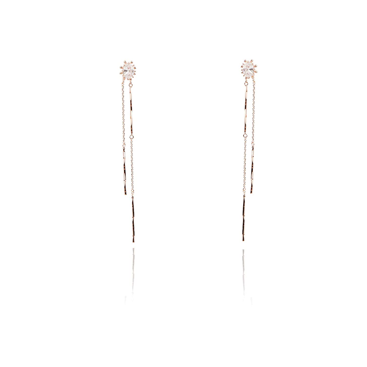 JEWLIX Korea Cubic Zirconia Bar Stick Chain Drop Earrings