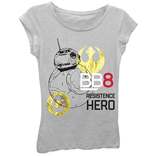 Star Wars Little Girls' the Last Jedi Bb8 Resistence Hero Short Sleeve Tee, Heather Gray, 6X