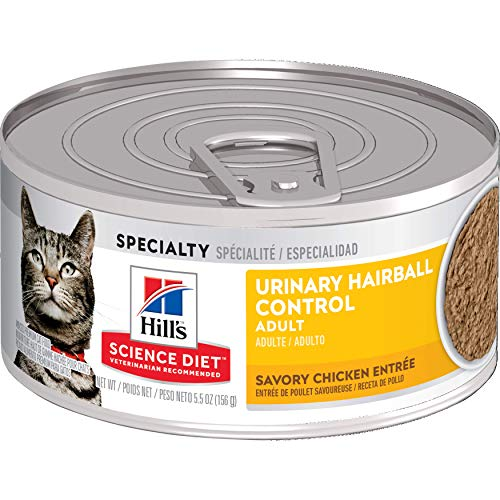 Hill's Science Diet Wet Cat Food, Adult, Urinary & Hairball Control, Savory Chicken Recipe, 5.5 oz Cans, 24-pack