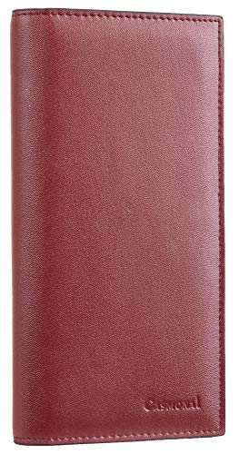 Casmonal Genuine Leather Checkbook Cover For Men & Women Checkbook Holder Wallet RFID Blocking(red wine)