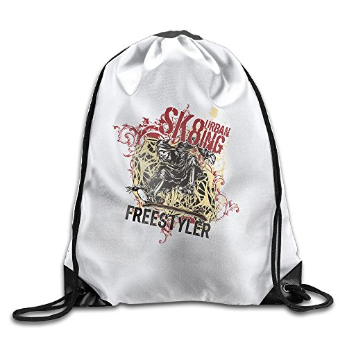 Urban Sk8 Sports Skeleton Durable Gym Sack Bag Drawstring Tote Backpack Sport Bag For Men Women School Travel (Bag Sk8)