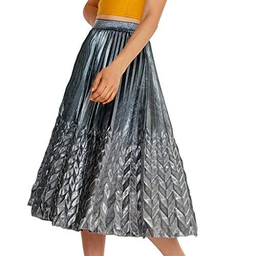 Fashion Lady's High Waist Gilded Stretch Pleated Half-Length A-Shaped Skirt ()
