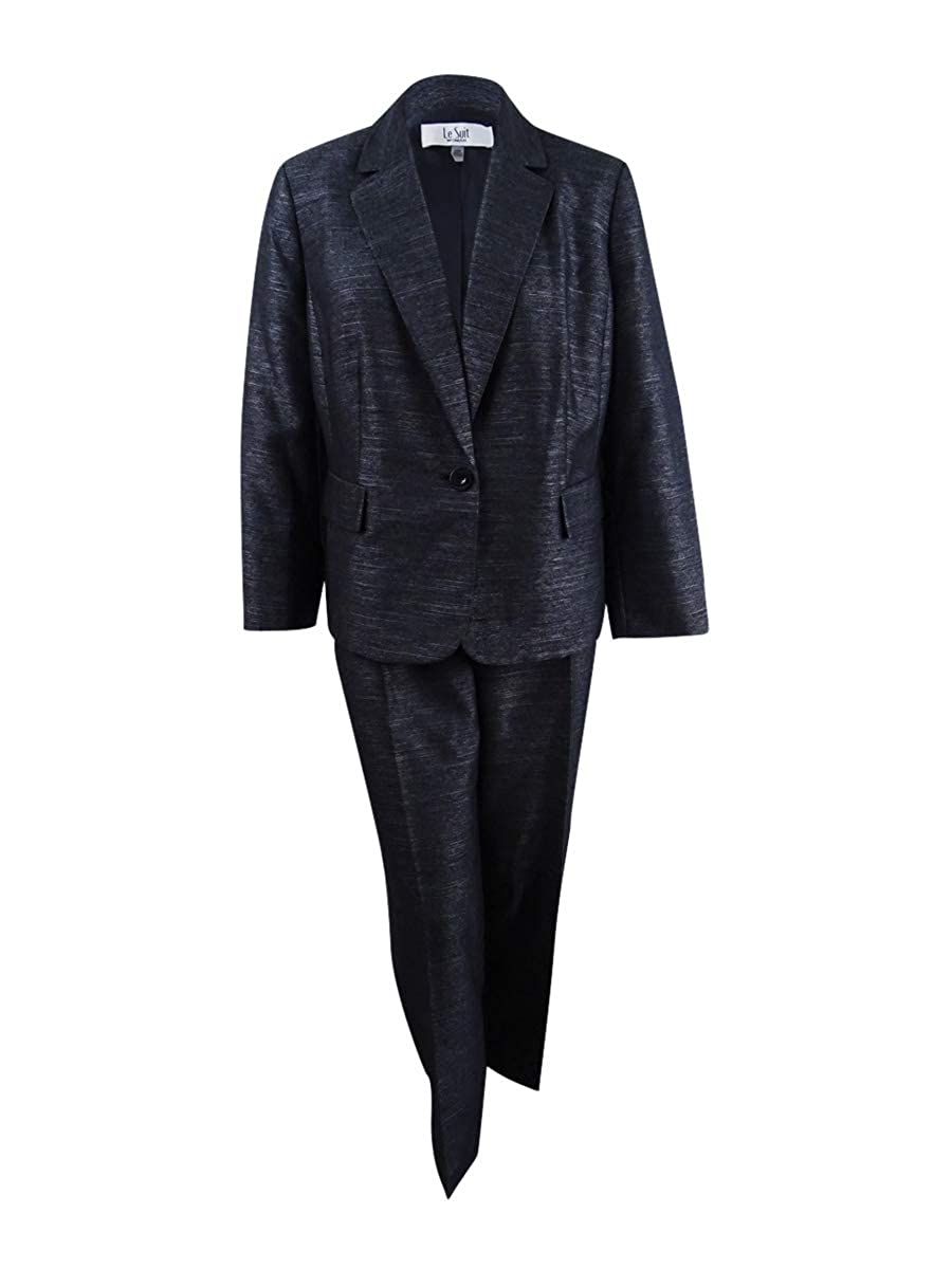 Le Suit Women's Plus Size Single-Button Pantsuit (20W, Black)