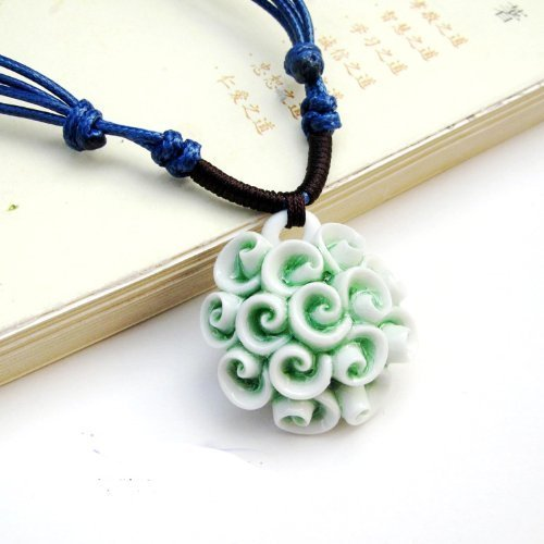 Green Ceramic Rose Flower Pendant Necklace,Rose Necklace for Women,Girls