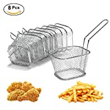 8Pcs Chip Serving Basket French Fries Crisps Wedges Onion Rings Frying Food Presentation Stainless Steel Filter Party Fryer Mini Strainer Kitchen Restaurant Cooking Tool