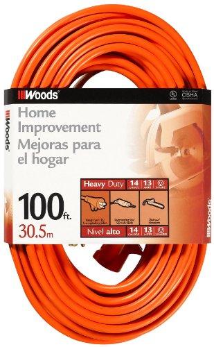 Woods 0627 14/3 Outdoor SJTW Vinyl Extension Cord, 100-Foot, Orange
