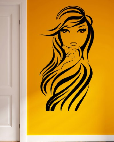 Sexy Young Woman Long Hair Style Beauty Salon Decor Wall Mural Vinyl Decal Sticker M566